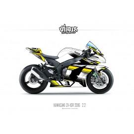 Kit déco Kawasaki ZX10R 2016 2.2 Blanc Jaune Noir