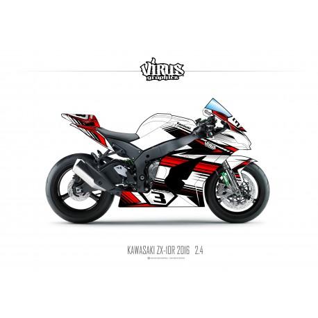 Kit déco Kawasaki ZX10R 2016 2.4 Blanc Rouge Noir