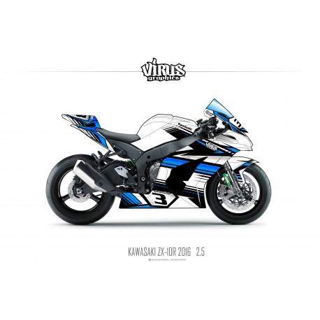 Kit déco Kawasaki ZX10R 2016 2.5 Blanc Bleu Noir