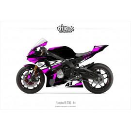 Kit déco Yamaha R1 2015/19 1.4 Noir Rose Blanc
