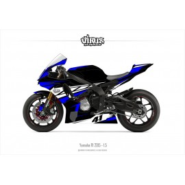 Kit déco Yamaha R1 2015/19 1.5 Noir Bleu Blanc