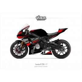 Kit déco Yamaha R1 2015/19 1.7 Noir Gris Rouge