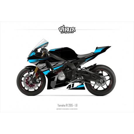 Kit déco Yamaha R1 2015/19 1.8 Noir Gris Bleu