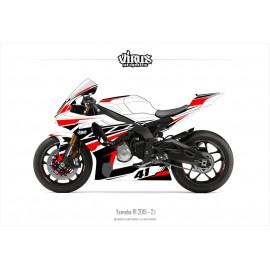 Kit déco Yamaha R1 2015/19 2.1 Blanc Noir Rouge