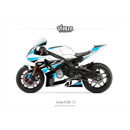 Kit déco Yamaha R1 2015/19 2.2 Blanc Noir Bleu