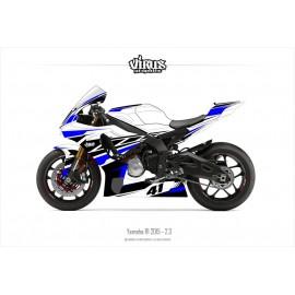Kit déco Yamaha R1 2015/19 2.3 Blanc Noir Bleu