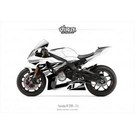 Kit déco Yamaha R1 2015/19 2.4 Blanc Noir Gris
