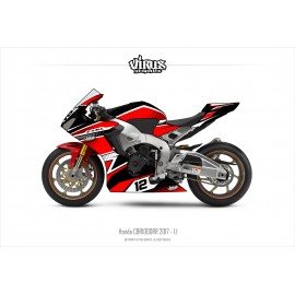 Kit déco Honda CBR1000RR 2017/19 1.1 Noir Rouge Blanc
