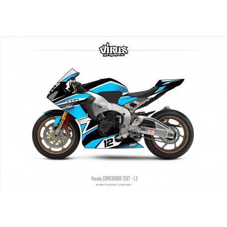 Kit déco Honda CBR1000RR 2017/19 1.2 Noir Bleu Blanc