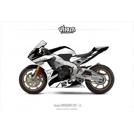 Kit déco Honda CBR1000RR 2017/19 1.6 Noir Blanc