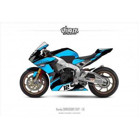 Kit déco Honda CBR1000RR 2017/19 1.8 Noir Bleu Gris