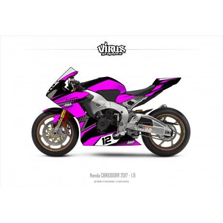 Kit déco Honda CBR1000RR 2017/19 1.9 Noir Rose Gris