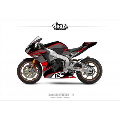 Kit déco Honda CBR1000RR 2017/19 1.10 Noir Gris Rouge
