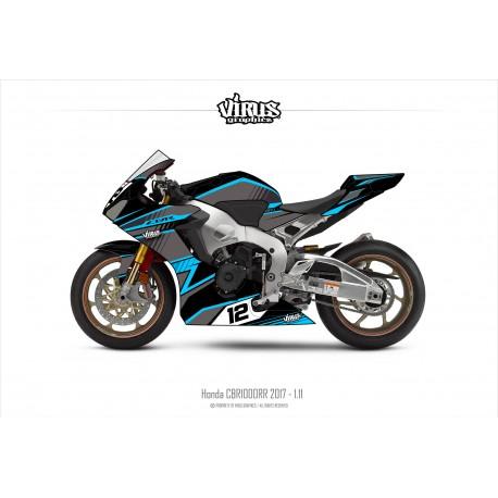 Kit déco Honda CBR1000RR 2017/19 1.11 Noir Gris Bleu