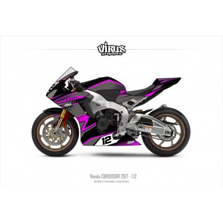 Kit déco Honda CBR1000RR 2017/19 1.12 Noir Gris Rose