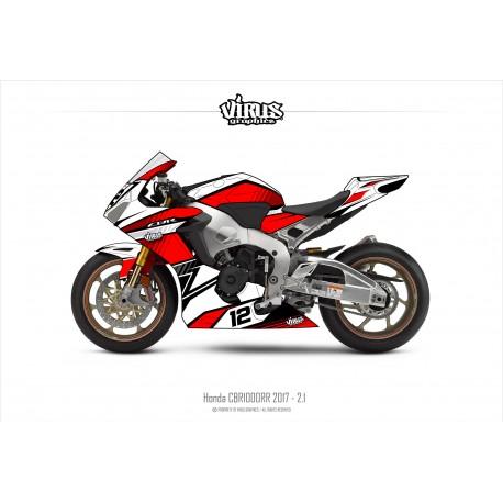 Kit déco Honda CBR1000RR 2017/19 2.1 Blanc Rouge Noir