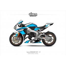 Kit déco Honda CBR1000RR 2017/19 2.2 Blanc Bleu Noir