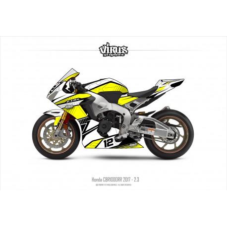 Kit déco Honda CBR1000RR 2017/19 2.3 Blanc Jaune Noir