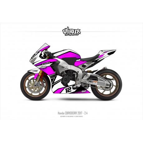Kit déco Honda CBR1000RR 2017/19 2.4 Blanc Rose Noir