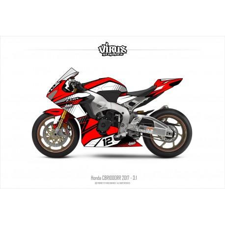 Kit déco Honda CBR1000RR 2017/19 3.1 Rouge Blanc Noir