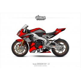 Kit déco Honda CBR1000RR 2017/19 3.2 Rouge Gris Noir