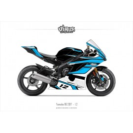 Kit déco Yamaha R6 2017 1.2 Noir Bleu Blanc