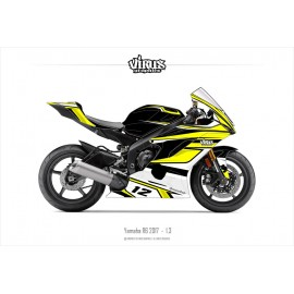 Kit déco Yamaha R6 2017 1.3 Noir Jaune Blanc
