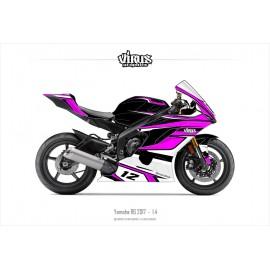 Kit déco Yamaha R6 2017 1.4 Noir Rose Blanc