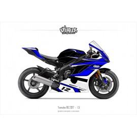 Kit déco Yamaha R6 2017 1.5 Noir Bleu Blanc