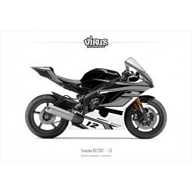 Kit déco Yamaha R6 2017 1.6 Noir Gris Blanc