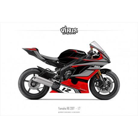 Kit déco Yamaha R6 2017 1.7 Noir Gris Rouge