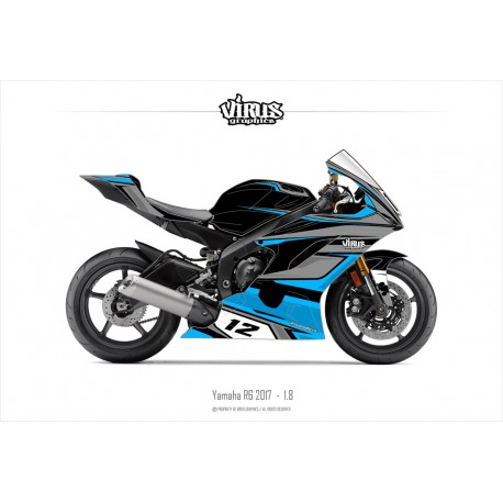 Kit déco Yamaha R6 2017 1.8 Noir Gris Bleu