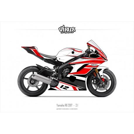 Kit déco Yamaha R6 2017 2.1 Blanc Rouge Noir