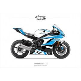 Kit déco Yamaha R6 2017 2.2 Blanc Bleu Noir