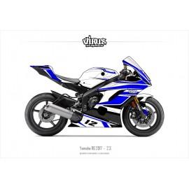 Kit déco Yamaha R6 2017 2.3 Blanc Bleu Noir