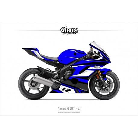 Kit déco Yamaha R6 2017 3.1 Bleu Blanc Noir