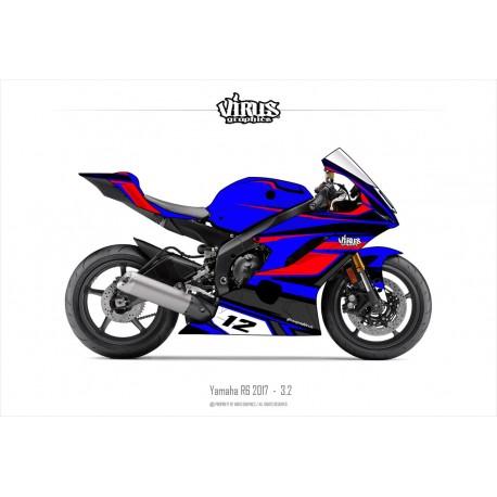 Kit déco Yamaha R6 2017 3.2 Bleu Rouge Noir
