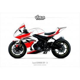 Kit déco Suzuki GSXR1000 2017 2.1 Blanc Rouge Noir