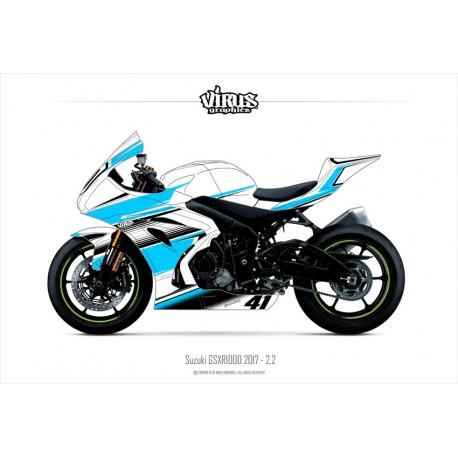 Kit déco Suzuki GSXR1000 2017 2.2 Blanc Bleu Noir