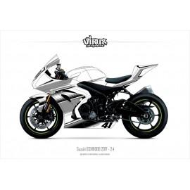 Kit déco Suzuki GSXR1000 2017 2.4 Blanc Gris Noir