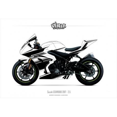 Kit déco Suzuki GSXR1000 2017 2.5 Blanc Noir