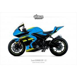 Kit déco Suzuki GSXR1000 2017 3.2 Bleu Noir Jaune