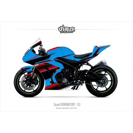 Kit déco Suzuki GSXR1000 2017 3.3 Bleu Noir Rouge