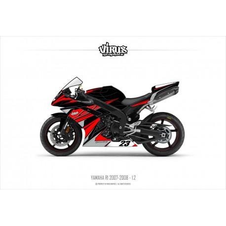 Kit déco Yamaha R1 2007/08 1.2 Noir Rouge Gris