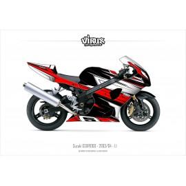 Kit déco Suzuki GSXR1000 2003/04 1.1 Noir Rouge Blanc
