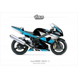Kit déco Suzuki GSXR1000 2003/04 1.2 Noir Bleu Blanc