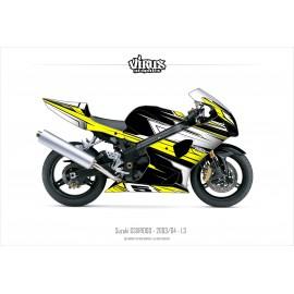 Kit déco Suzuki GSXR1000 2003/04 1.3 Noir Jaune Blanc