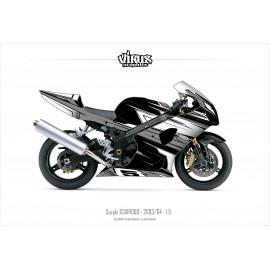 Kit déco Suzuki GSXR1000 2003/04 1.5 Noir Gris Blanc