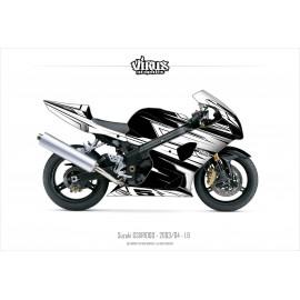Kit déco Suzuki GSXR1000 2003/04 1.6 Noir Blanc