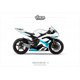 Kit déco Yamaha R6 2006/07 2.2 Blanc Noir Bleu